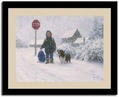 Catching Snowflakes Boy Dog Robert Duncan Art Print Framed