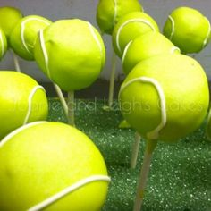 Tennis Cake Pops. These would be fun/cute to do for a tennis party!