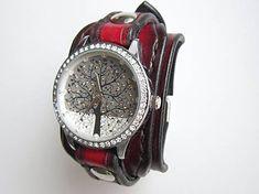 leon / Dámske hodinky kožený remienok čiernočervený