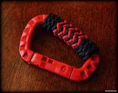 "Red TAC Link carabiner with pinapple and gaucho knots, tied with County Comm tether cord and Atwood utility cord (3/32"", 1/16"", 2mm size range cordage)"