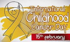 Commemorative banner for International Childhood Cancer Day with hand drawn smiling ribbon, ribbon with reminder date and golden brush painted in the background.