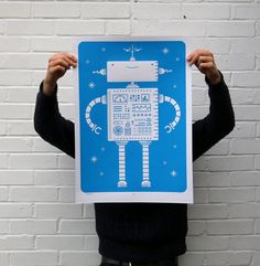 Robotik  Bildschirm gedruckte Roboter Siebdruck Poster