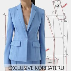 Pattern jacket with vertical reliefs from Anastasia Korfiati,Fantastic 50 Sewing projects are readily available on our internet site. Suit Jackets For Women, Blazers For Women, Suits For Women, Office Fashion Women, Work Fashion, Fashion Ideas, Clothing Patterns, Dress Patterns, Sewing Patterns
