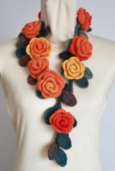 ROSA naranja Crochet rosas Multicolor por jennysunny en Etsy