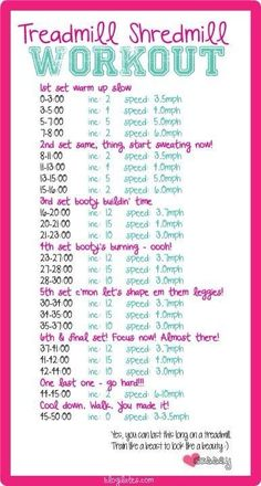 Treadmill workout thanks to blogilates <3 love it sooo much