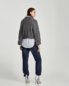 CROPPED SWEATER WITH FAUX PEARLS-Sweaters-KNITWEAR-WOMAN | ZARA United States