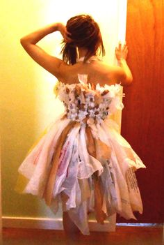 The Plastic Bag Fairy Dress by Nolay on Etsy, maybe do this with different pastel colored small trash bags