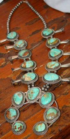 OLD Navajo Sterling Royston Turquoise Squash Blossom Naja Necklace Signed Ethnic Jewelry, Silver Jewellery Indian, Navajo Jewelry, Southwest Jewelry, Western Jewelry, Turquoise Jewelry, Silver Jewelry, Silver Ring, Silver Bracelets