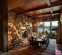 Dream Home: This property is full of surprises. Trying to Balance the Madness Stone Wall Design, French Country Farmhouse, The Ranch, Log Homes, Luxury Real Estate, Home Improvement, Home And Family, Interior, Outdoor Decor