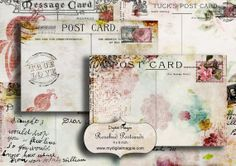 digital collage sheet printable postcards 4x6 inch craft or scrapbook background images digital paper with roses for instant download