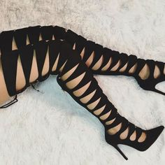 Amazing Black Cut Out Boot Heels