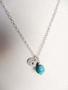 Turquoise and sterling silver personalised charm by SilverZoo