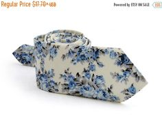 SALE 30% OFF Ivory Floral Light Blue Tie   by TheBestBoysTies
