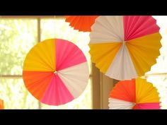 Heidi and Susie Bauer are throwing a Neon Party and you're invited! Utilizing easy to find neon colored paper from the office supply store they create festive fan medallions. Hang them above your party table for a festive party focal p...