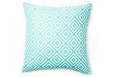 One Kings Lane - Color Spectrum - South Beach 16x16 Pillow, Blue/White