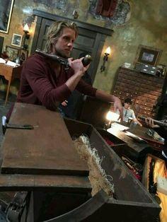 Matt Barr on set of Sleepy Hollow