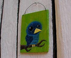 Original Primitive Funky Folk Art Painting Blue Bird on Branch
