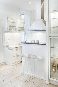 All White Color Kitchen Bar Design For Small Areas