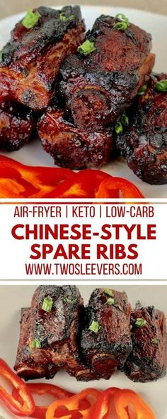 Chinese-Style Spareribs | Air-Fryer Ribs | Chinese Ribs | Keto Ribs Recipe | Keto Chinese Recipe | Keto Air-Fryer Recipe | Two Sleevers #airfryerrecipe #ketochinese #ketorecipe via @twosleevers