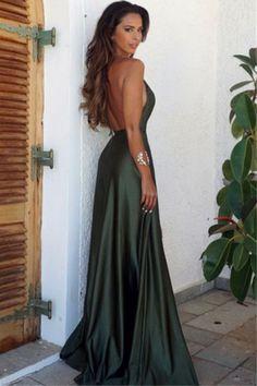 ae5269383c Olive Green Backless Split Elegant Simple Prom Party Dress V-Neck Long  Floor Length Evening