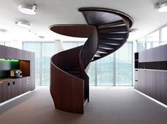 dark wood spiral staircase