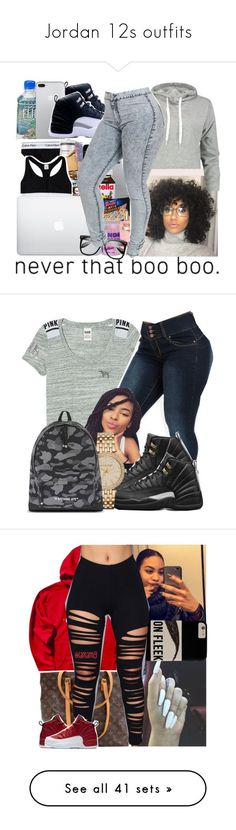 """""""Jordan 12s outfits"""" by nasza100 ❤ liked on Polyvore featuring Boohoo, Retrò, MICHAEL Michael Kors, A BATHING APE, Louis Vuitton, NIKE, Pilot, MCM, True Religion and Rolex"""