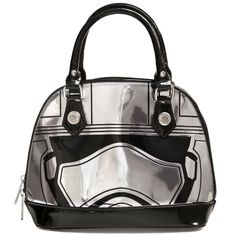 Star Wars Captain Phasma Dome Bag New Star Wars chic and sleek black and chrome dome bag from Loungefly. Material is a glossy vinyl covering, zip closure and Star Wars logo lining. Product Details Pieced vinyl casing First Order emblem metal accents Zip top closure with Loungefly logo pull Interior zip pocket and open pocket Fully lined with woven Star Wars logo fabric Silver finish hardware All man-made materials 8 1/2'' H x 10'' W x 5'' D Carry handles 4 1/2'' L Star Wars  Bags Shoulder…