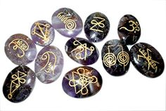 Amethyst Karuna Reiki 11 Stone Set Oval Crystal Gemstone Engraved Healing Chakra Balancing Pouch Spiritual Pagan Wicca Energy Vibes Aura Quality Divine Gift Good Luck Mental Peace Meditation Relaxation Massage Psychic Therapy Bonding Family Relationship Love Friendship Power Progress Growth Prosperity *** You can find more details by visiting the image link.