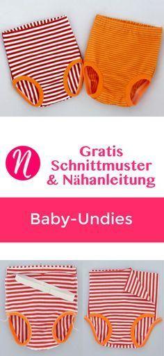 Freebook - Baby-Unterhöschen zum selber nähen. PDF-Schnittmuster in Gr. 62 - 98 mit Anleitung. ❤ Nähtalente - Magazin für kostenlose Schnittmuster ❤ Free sewing pattern for babies undies in size 62 - 98.