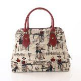 (Convertible) New Ladies Canvas Fashion Handbags Shoulder bags / 'Lady 29 Collection' Coffee, Tea or Me?