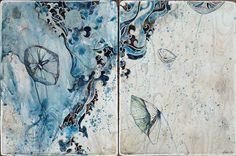 Belinda Fox Title: Listen to Me II, 2011. Size: 30.5 x 46cm. Medium: Watercolour, encaustic, drawing on board