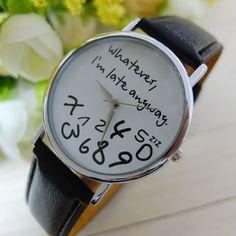Cheap Watches For Women Vogue I am Late Anyway Letters Print Quartz Watch Men Dress Hour Clock Relogio Feminino Montre Reloj #N