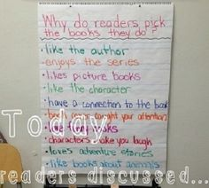 A large tablet on an easel entitled Why do readers choose the books they do? Teaching Tips, Teaching Reading, Guided Reading, Reading Strategies, Reading Comprehension, Teaching Technology, Technology Integration, Library Activities, Mobile Learning