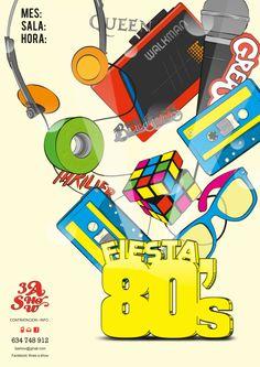 cartel fiesta tematica los s