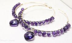 Amethyst Hoop Earrings Sterling Silver Hoops Big by maggiesjewelry