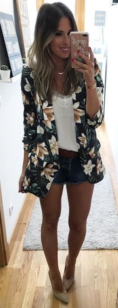Cute outfits: 60 Great Spring Outfit Ideas To Copy Just Now Classy Fall Outfits, Summer Outfits Women, Spring Outfits, Cool Outfits, Casual Outfits, Fashion Outfits, Women's Fashion, Fashion Trends, Floral Blazer Outfit