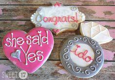 Custom Engagement Sugar Cookies (Set of Six) by Sweet17Cookies on Etsy