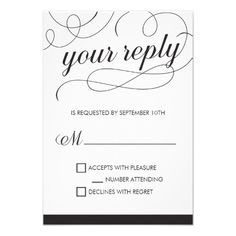 Black and white RSVP card with a script font