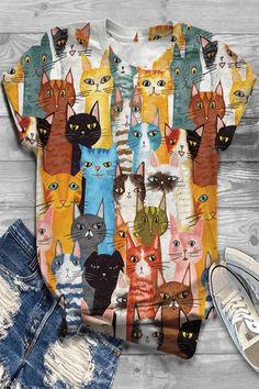 Cartoon Cat Print Vintage Paneled Short Sleeves T-shirt – fulday Cute Themes, Cute Car Accessories, Vintage Cartoon, Vintage Graphic, Fish Print, Types Of Sleeves, Short Sleeves, Cute Cars, Butterfly Print
