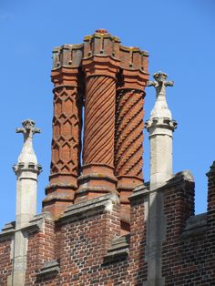 Victorian replicas of Tudor barley twist chimney pots at Hampton Court Palace