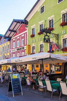 Colourful, Austrian buildings line the streets of Mondsee in Austria.