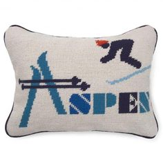 #Aspen needlepoint pillow to go with the #Fresno one #JonathanAdler