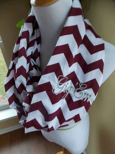 Texas A&M chevron knit infinity scarf by APresentfromaBird on Etsy, $22.00