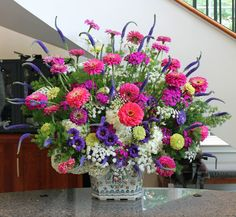 Arrangement from June 25, 2013: zinnia, veronica, Queen Anne's lace, hydrangea, lisianthus, Sweet William, and Ming Fern