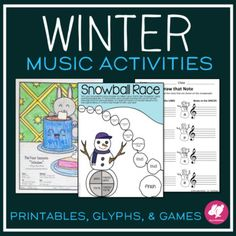 11 Winter-themed printable activities for elementary music classes that are great for Sub Plans or Centers because they require zero prep. and some of them have a coloring element.