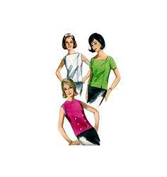 Vintage 60s Misses Blouse Sewing Pattern Back by retromonkeys, $7.00