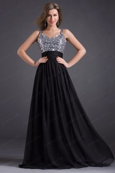Simple Black Spaghetti Straps Sweetheart Floor Length Chiffon prom dresses with Sequins  -  $55.00 Form https://www.everisa.com/simple-black-spaghetti-straps-sweetheart-floor-length-chiffon-prom-dresses-with-sequins