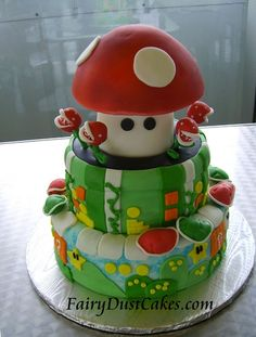 Mario Grooms Cake by FairyDustCakes, via Flickr | Super Mario Brothers Nintendo NES Wedding Cake Groom Video Game