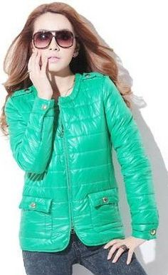 Green Round Neck Epaulets Shoulder Full Zip Thin Down Coat   $61.47