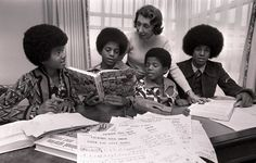 The Jacksons with their tutor Rose Fine Michael Jackson, Jackie Jackson, The Jackson Five, Jackson Family, People Throwing Up, On Air Radio, You Are My Life, Family Bonding, The Jacksons